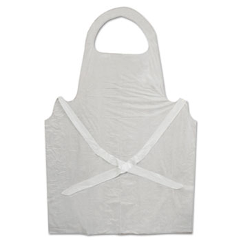Boardwalk® Disposable Apron, White, Poly, 28 x 45, 1.25 mil, One Size, 100/Pk