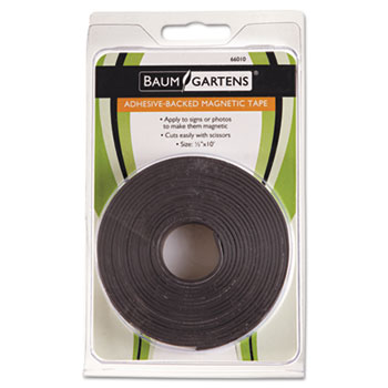 """Baumgartens® Adhesive-Backed Magnetic Tape, Black, 1/2"""" x 10ft, Roll"""