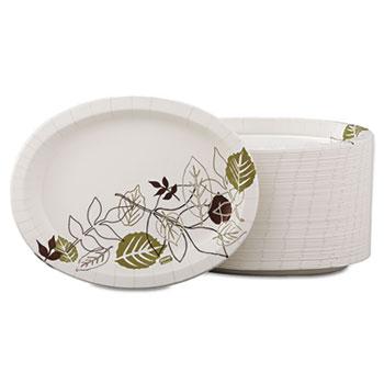 Pathways Heavyweight Oval Platters, 8 1/2 x 11, Green/Burgundy, 500/Carton