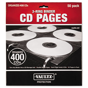 Vaultz® Two-Sided CD Refill Pages for Three-Ring Binder, 50/Pack