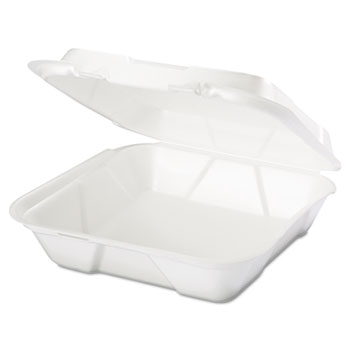 Snap It Foam Container, 1-Comp, 9 1/4 x 9 1/4 x 3, White, 100/Bag, 2 Bags/Carton