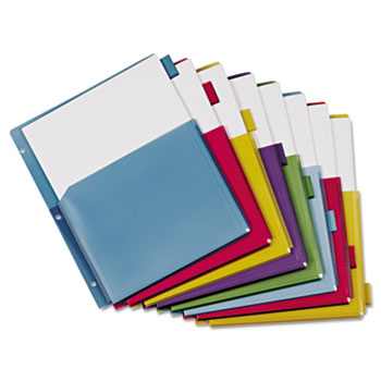 Cardinal® Poly Expanding Pocket Index Dividers, 8-Tab, Letter, Multicolor, per Pack