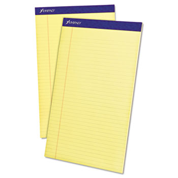Ampad™ Perforated Writing Pad, 8 1/2 x 14, Canary, 50 Sheets, Dozen