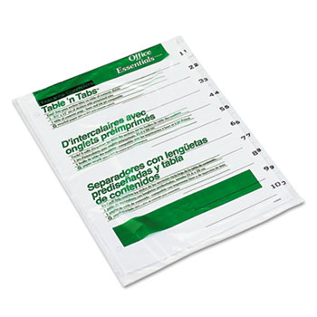 Office Essentials™ Table 'n Tabs® Dividers with White Tabs, 1-10 Tab