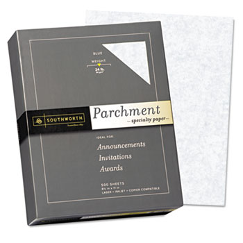Southworth® Parchment Specialty Paper, Blue, 24 lbs., 8-1/2 x 11, 500/Box
