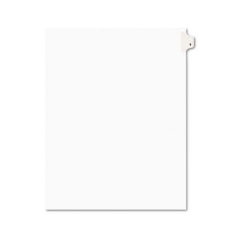 Individual Legal Dividers Style, Letter Size, Avery-Style, Side Tab Dividers, #1, 25/PK
