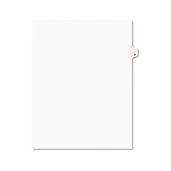 Individual Legal Dividers Style, Letter Size, Avery-Style, Side Tab Dividers, #6, 25/PK