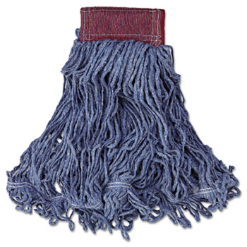 Rubbermaid® Commercial Super Stitch Blend Mop Head, Large, Cotton/Synthetic, Blue, 6/CT