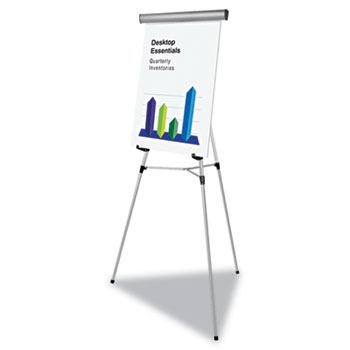 """MasterVision® Telescoping Tripod Display Easel, Adjusts 35"""" to 64"""" High, Metal, Silver"""