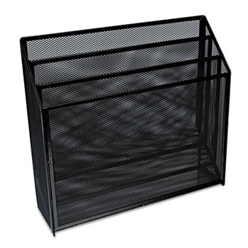 """Universal® Deluxe Mesh Three-Tier Organizer, 3 Sections, Letter Size Files, 12.63"""" x 3.63"""" x 11.5"""", Black"""