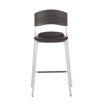 CafWorks Bistro Stool, Blow Molded Polyethylene, Graphite/Silver