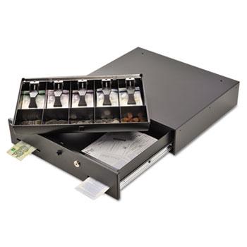 SteelMaster® Alarm Alert Steel Cash Drawer w/Key & Push-Button Release Lock, Black