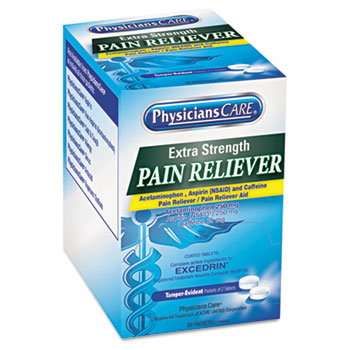PhysiciansCare® Extra Strength Pain Reliever, 2/Pack, 50 Packs/Box