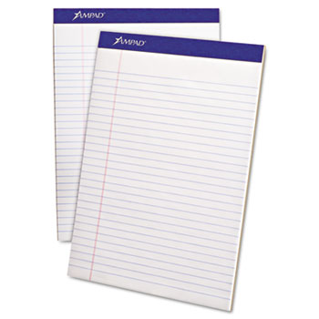 Perforated Writing Pad, 8 1/2 x 11 3/4, White, 50 Sheets, Dozen.