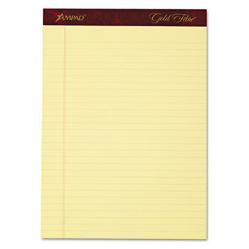 Gold Fibre Writing Pads, Legal/Legal Rule, Ltr, Canary, 4 50-Sheet Pads/Pack