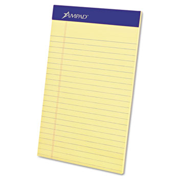 Ampad™ Perforated Writing Pad, Narrow, 5 x 8, Canary, Perfed, 50 Sheets, Dozen