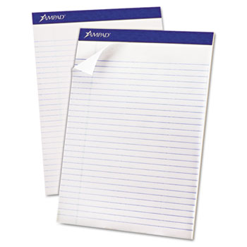 """Ampad™ Recycled Writing Pads, 8 1/2"""" x 11 3/4"""", White, 50 Sheets"""