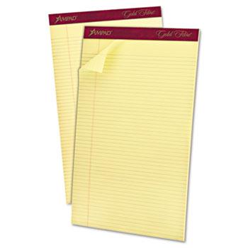 Ampad™ Gold Fibre Pads, 8 1/2 x 14, Canary, 50 Sheets, Dozen