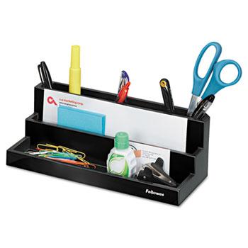 "Fellowes® Designer Suites Desktop Organizer, 11 1/8"" x 5"" x 3 7/8"", Black Pearl"