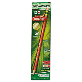 Ticonderoga® Ticonderoga Erasable Colored Pencils, 2.6 mm, CME Lead/Barrel, Dozen