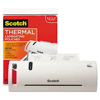 """Scotch™ Thermal Laminator Value Pack, 9"""" W, with 20 Letter Size Pouches"""