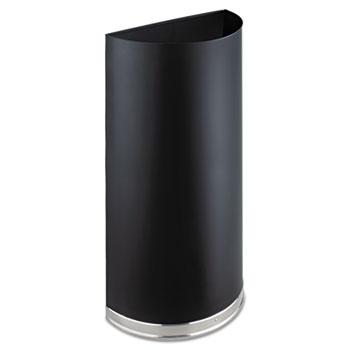 Safco® Half-Round Receptacle, Half-Round, Steel, 12.5gal, Black