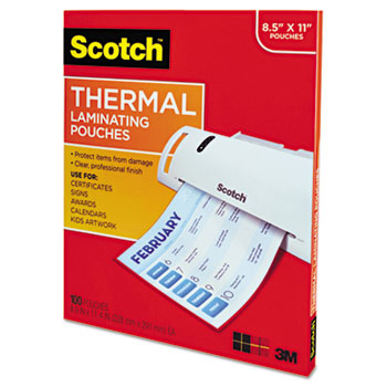 Letter Size Thermal Laminating Pouches, 3 mil, 11 1/2 x 9, 100 per Pack