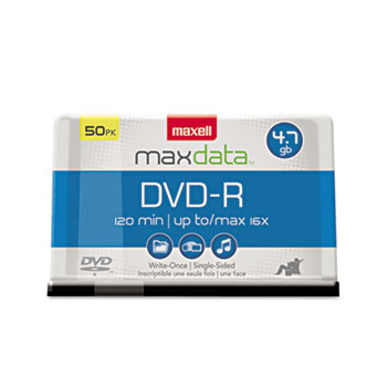 Maxell® DVD-R Discs, 4.7GB, 16x, Spindle, Gold, 50/Pack