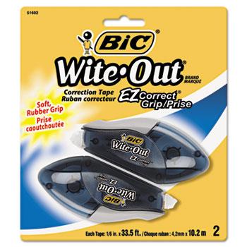 "BIC® Wite-Out EZ Correct Grip Correction Tape, NonRefill, 1/6"" x 402"", 2/Pk"