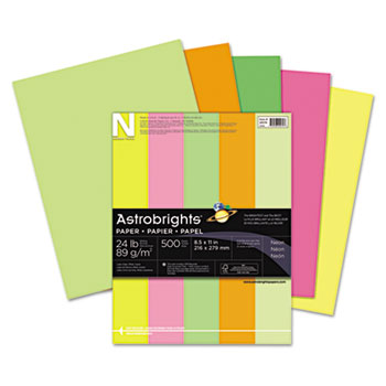 "Color Paper, 8 1/2"" x 11"", 24 lb./89 gsm., Neon 5-Color Assortment, 500/RM"