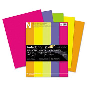 "Astrobrights® Colored Cardstock, 8 1/2"" x 11"", 24 lb./89 gsm., Happy 5-Color Assortment, 250/PK"