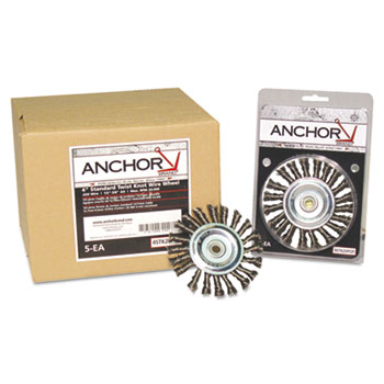 Anchor Brand® Stringer Bead Wheel Brush, 6in Diameter, Carbon Steel, .02in Wire