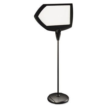 "Floor Stand Dry Erase Sign, Adjustable, 25 x 17, 63"" High, Black"
