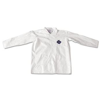 Tyvek Lab Coat, White, Snap Front, 2 Pockets, Large, 30/Carton
