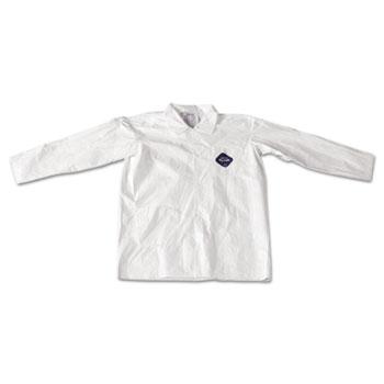 DuPont® Tyvek Lab Coat, White, Snap Front, 2 Pockets, Large, 30/Carton