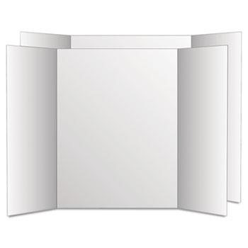 Eco Brites Too Cool Tri-Fold Poster Board, 28 x 40, White/White, 12/Carton