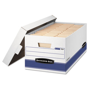 Bankers Box® STOR/FILE Storage Box, Legal, Locking Lid, White/Blue, 4/Carton