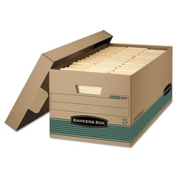 Bankers Box® STOR/FILE Storage Box, Legal, Locking Lift-off Lid, Kraft/Green, 12/Carton