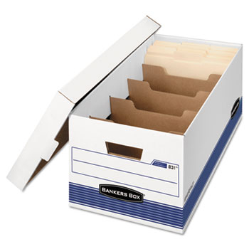 STOR/FILE Extra Strength Storage Box, Letter, Locking Lid, White/Blue, 12/Carton