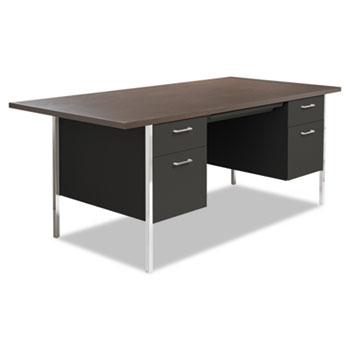 Double Pedestal Steel Desk, Metal Desk, 72w x 36d x 29-1/2h, Walnut/Black