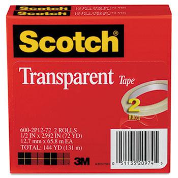 "Scotch™ Transparent Tape 600 2P12 72, 1/2"" x 2592"", 3"" Core, Transparent, 2/Pack"
