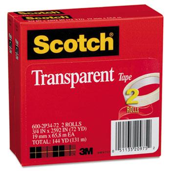 "Scotch™ Transparent Tape 600 2P34 72, 3/4"" x 2592"", 3"" Core, Transparent, 2/Pack"