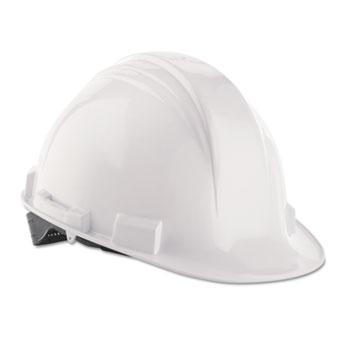 North Safety® A-Safe Peak Hard Hat, White, Rain Trough