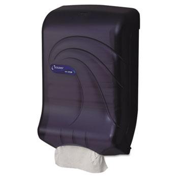 San Jamar® Ultrafold Multifold/C-Fold Towel Dispenser, Oceans, Black, 11 3/4 x 6 1/4 x 18