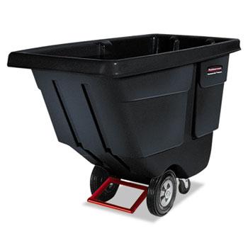 Rubbermaid® Commercial Rotomolded Tilt Truck, Rectangular, Plastic, 850lb Cap, Black