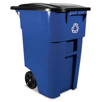 Rubbermaid® Commercial Brute Recycling Rollout Container, Square, 50gal, Blue