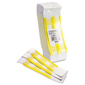 MMF Industries™ Self-Adhesive Currency Straps, Yellow, $1,000 in $10 Bills, 1000 Bands/Pack