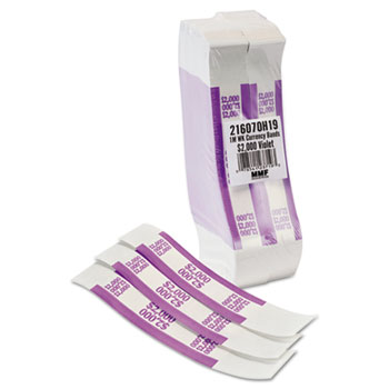 Self-Adhesive Currency Straps, Violet, $2,000 in $20 Bills, 1000 Bands/Pack