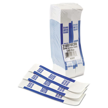 MMF Industries™ Self-Adhesive Currency Straps, Blue, $100 in Dollar Bills, 1000 Bands/Pack