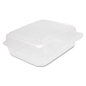 Dart® Staylock Clear Hinged Container, Plastic, 8 3/10 x 7 4/5 x 3, 125/Bag, 2BG/CT